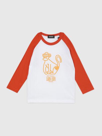 Diesel - TBALYB-R, Bianco/Arancione - T-shirts e Tops - Image 1
