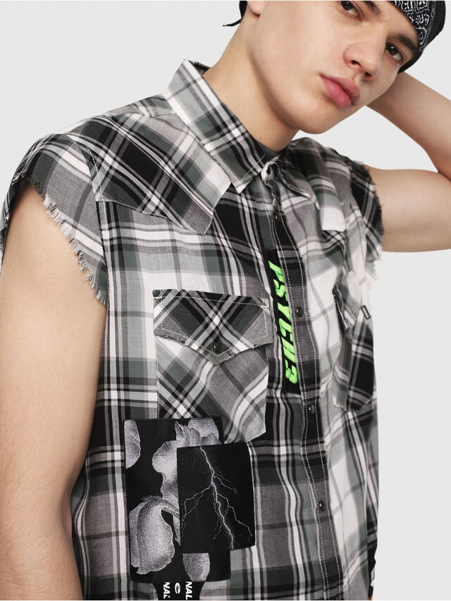 Diesel - S-EAST-LESS, Nero/Bianco - Camicie - Image 4
