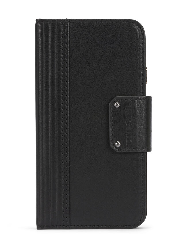 Diesel - BLACK LINED LEATHER IPHONE 8 PLUS/7 PLUS FOLIO, Nero - Cover a libro - Image 1