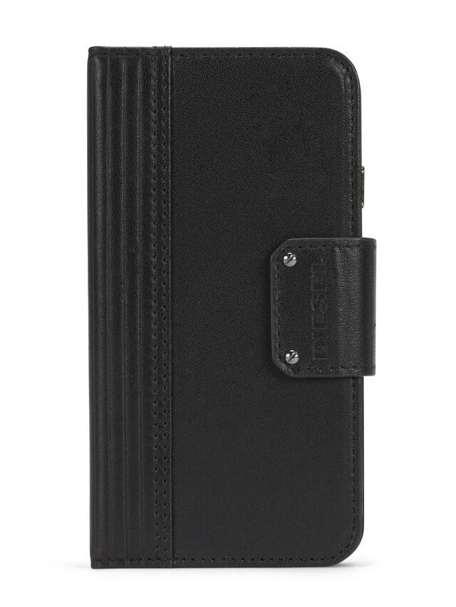 Diesel - BLACK LINED LEATHER IPHONE 8 PLUS/7 PLUS FOLIO, Nero - Cover a libro - Image 1