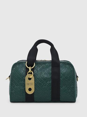 Satchel bag in econappa con logo in rilievo