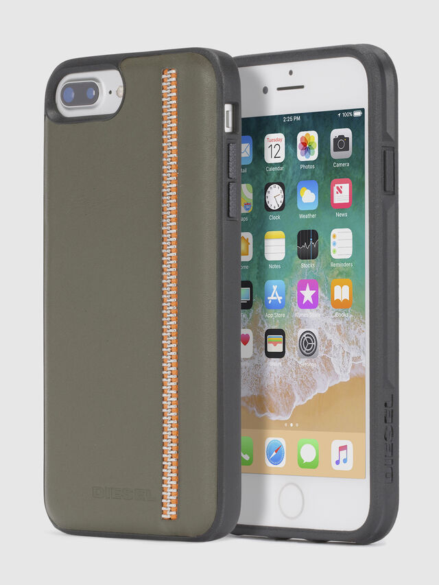 Diesel - ZIP OLIVE LEATHER IPHONE 8 PLUS/7 PLUS/6s PLUS/6 PLUS CASE, Verde Oliva - Cover - Image 1