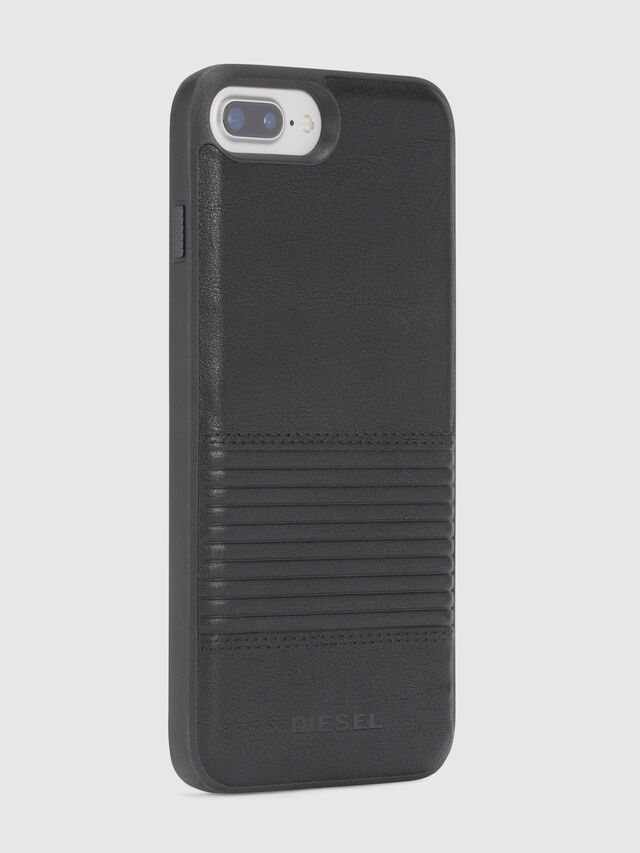 Diesel - BLACK LINED LEATHER IPHONE 8 PLUS/7 PLUS/6s PLUS/6 PLUS CASE, Nero - Cover - Image 5