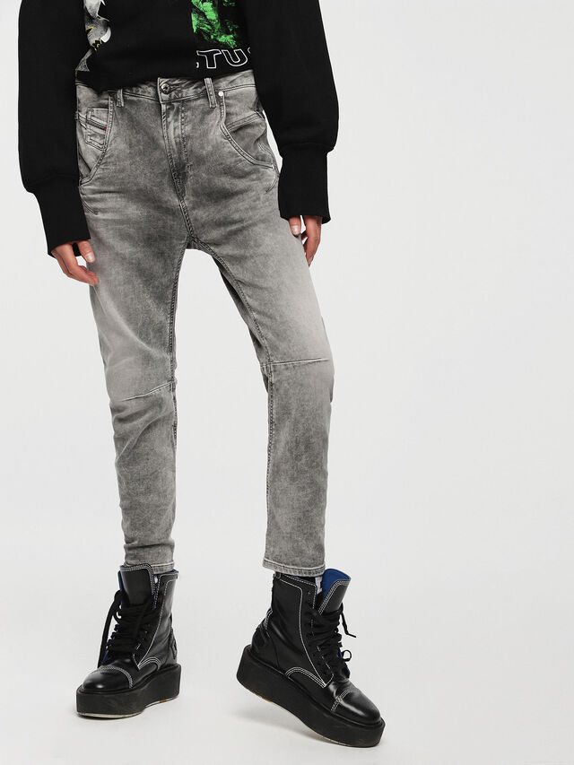 Diesel - Fayza JoggJeans 0855B, Grigio Chiaro - Jeans - Image 1