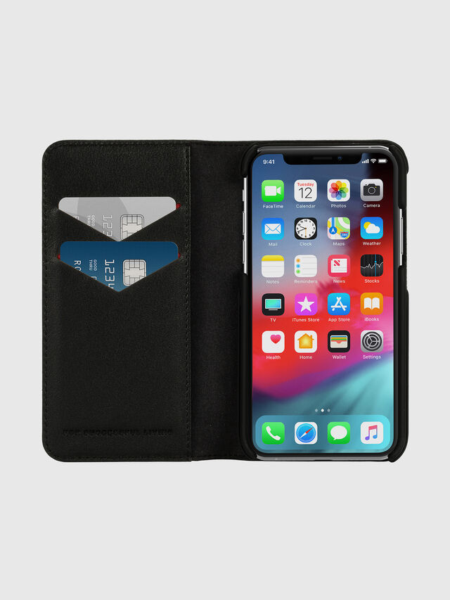 Diesel - DIESEL 2-IN-1 FOLIO CASE FOR IPHONE XS & IPHONE X, Nero/Bianco - Cover a libro - Image 7