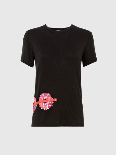 T-shirt Green Label con stampa con ciambelle