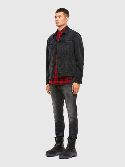 Diesel - S-EAST-LONG-CHK, Nero/Rosso - Camicie - Image 5
