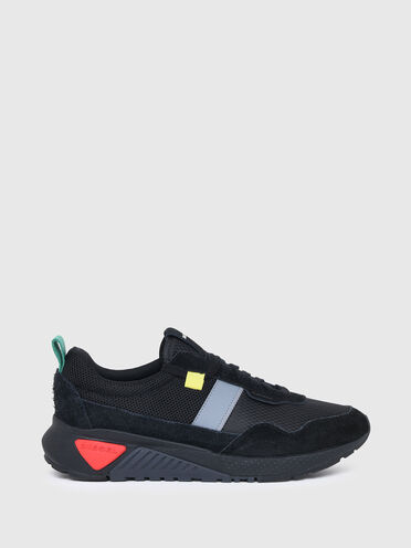 Sneaker in ripstop, tessuto mesh e pelle scamosciata