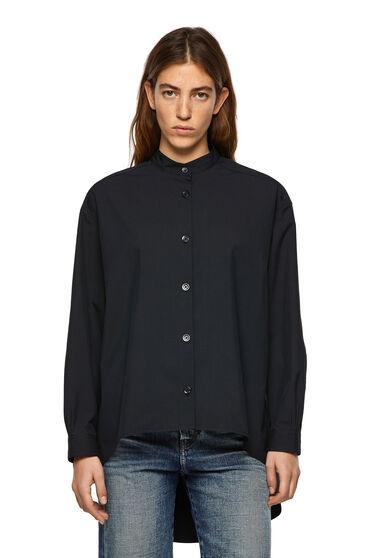 Camicia in popeline con taglio asimmetrico