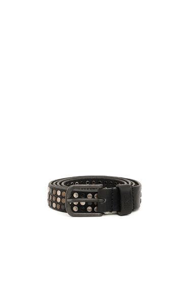 Cintura in pelle con borchie a contrasto