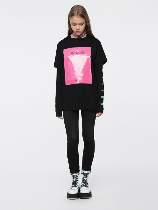 Diesel - T-DARIA-C, Nero/Rosa - T-Shirts - Image 4