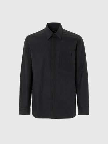 Camicia in popeline con paramontura in gros-grain