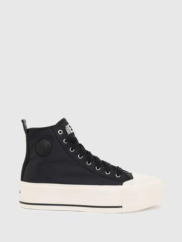 Sneaker con plateau in raso tecnico