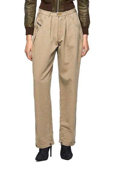 Pantaloni ampi in twill di cotone-lino