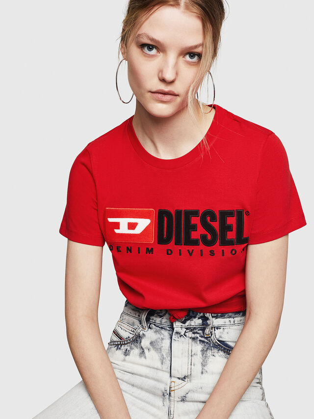 Diesel - T-SILY-DIVISION, Rosso Fuoco - T-Shirts - Image 4
