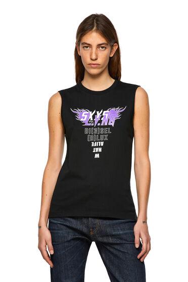 T-shirt smanicata con stampa sul davanti