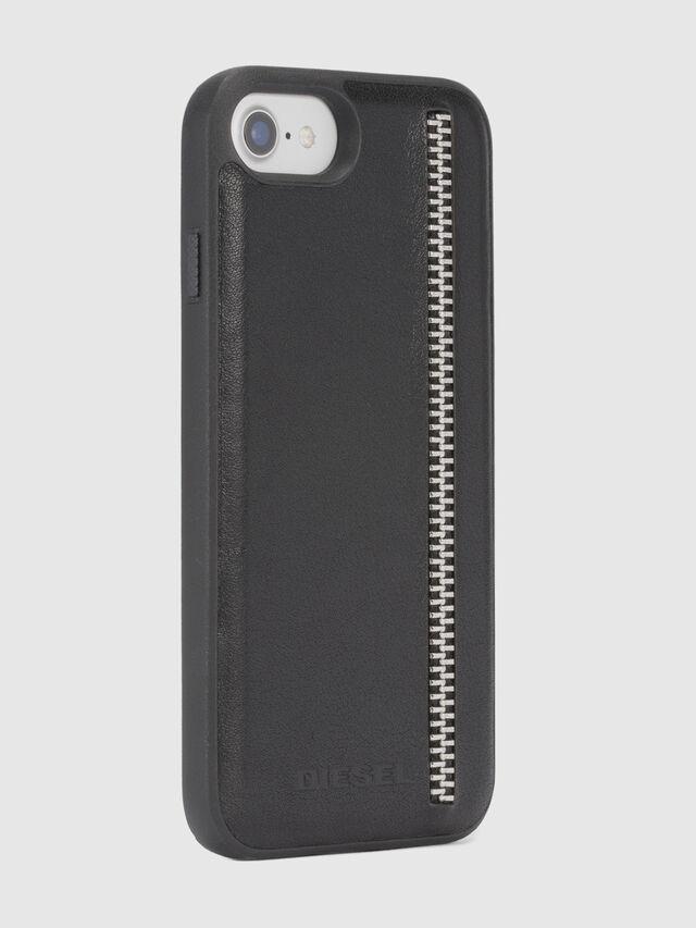 Diesel - ZIP BLACK LEATHER IPHONE 8 PLUS/7 PLUS/6s PLUS/6 PLUS CASE, Nero - Cover - Image 5