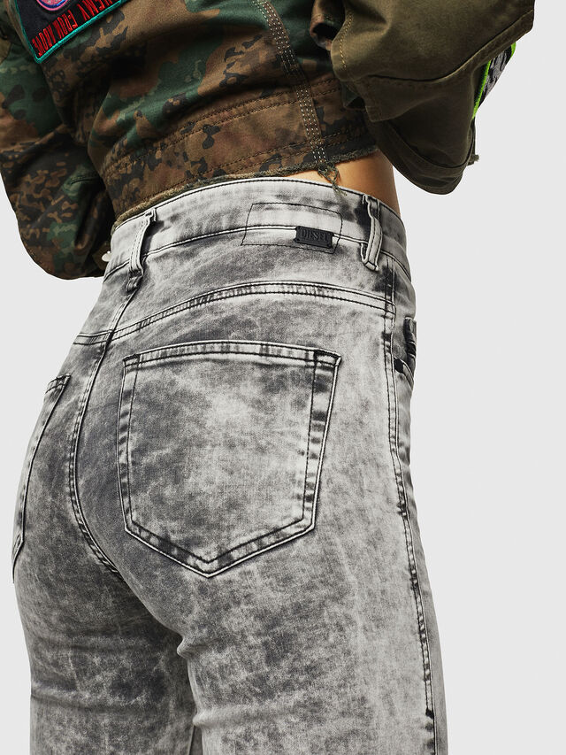 Diesel - Slandy High 069GQ, Grigio Chiaro - Jeans - Image 3