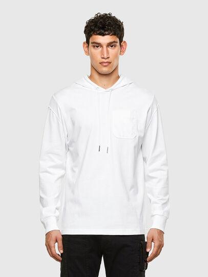 Diesel - T-FONTAL-LS-HOOD, Bianco - T-Shirts - Image 1