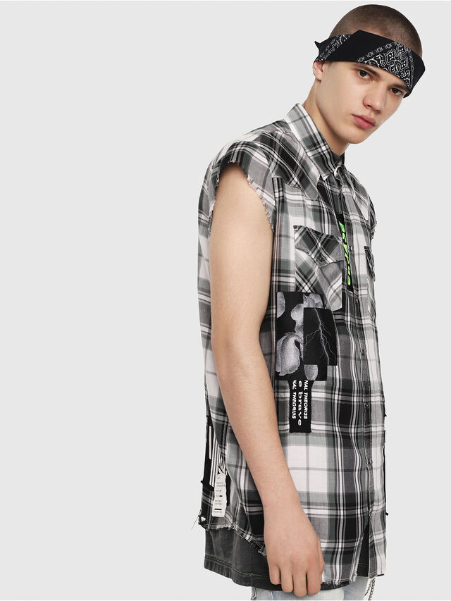 Diesel - S-EAST-LESS, Nero/Bianco - Camicie - Image 3