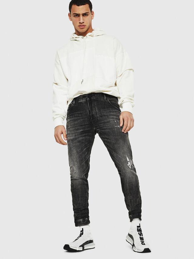 Diesel - Dvl-Krooley JoggJeans 0077S, Nero/Grigio scuro - Jeans - Image 5