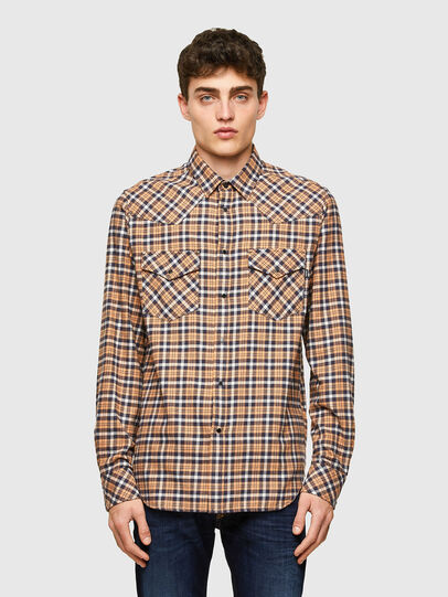 Diesel - S-EAST-LONG-CHK-B, Rosa/Nero - Camicie - Image 1