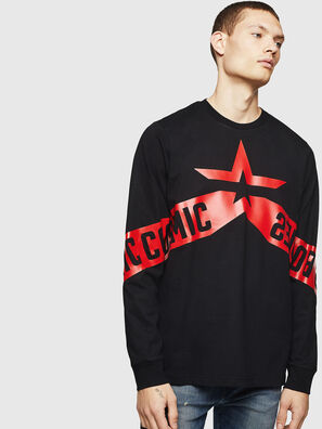 T-JUST-LS-STAR, Nero - T-Shirts