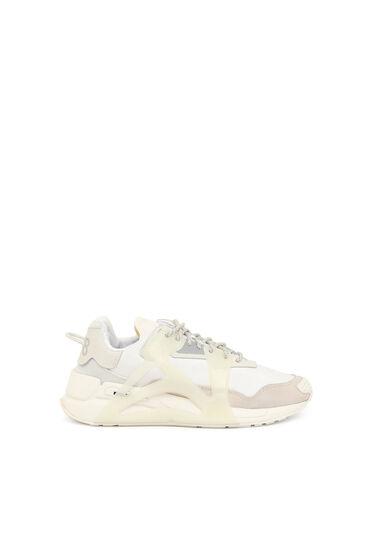Sneaker con effetto sovrapposto in nylon e pelle scamosciata