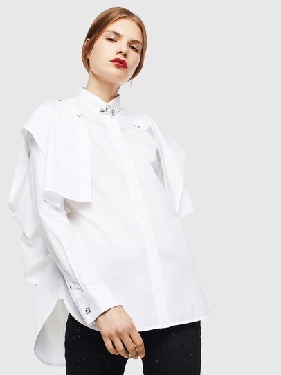 Diesel - C-RAILY-SHAPED, Bianco - Camicie - Image 1