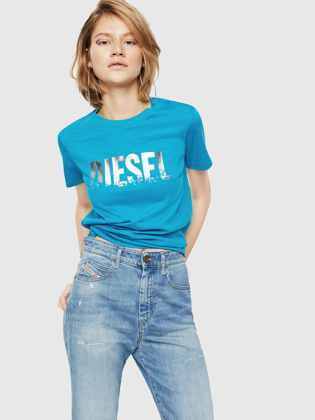 Diesel - T-SILY-WH, Turchese - T-Shirts - Image 1