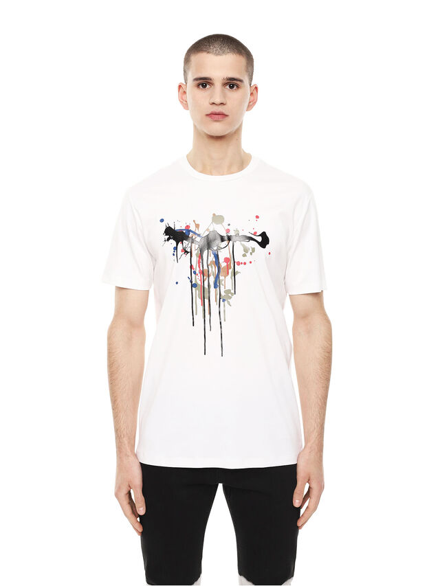 Diesel - TY-DRIPPING, Bianco - T-Shirts - Image 1