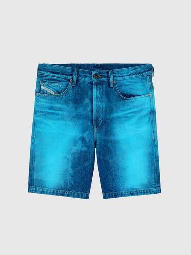 Shorts straight con effetto laser