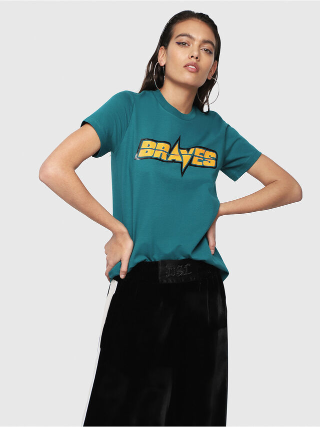 Diesel - T-SILY-WG, Verde Scuro - T-Shirts - Image 1