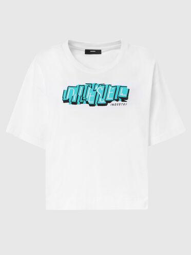 T-shirt boxy fit con stampa e ricamo