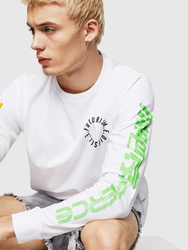 Diesel - T-JUST-LS-Y1, Bianco - T-Shirts - Image 3