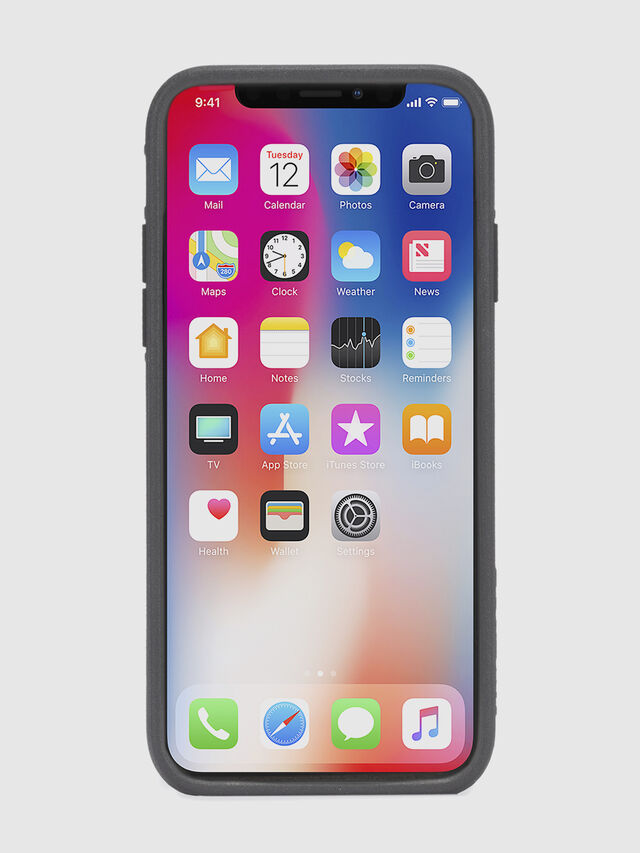 Diesel - BLACK LINED LEATHER IPHONE X CASE, Nero Cuoio - Cover - Image 4