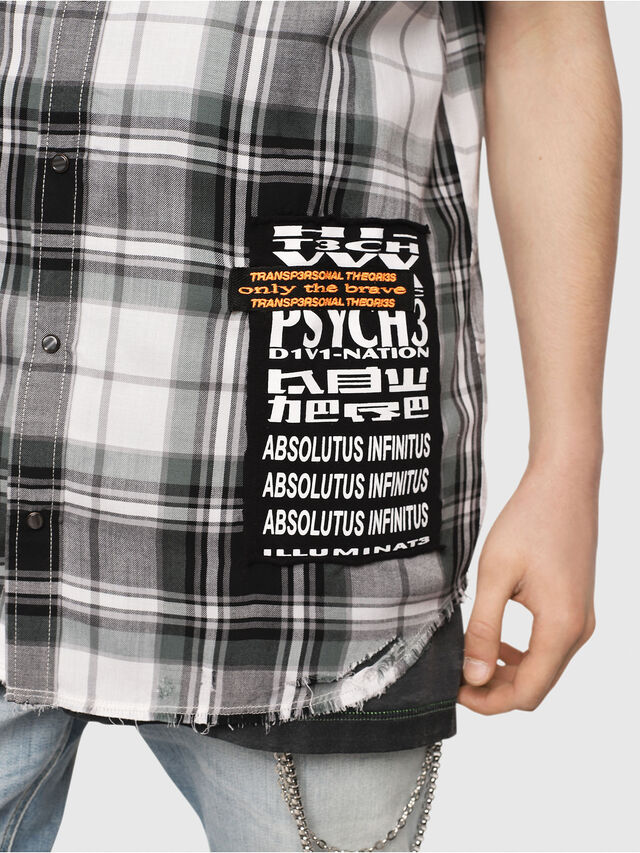 Diesel - S-EAST-LESS, Nero/Bianco - Camicie - Image 5