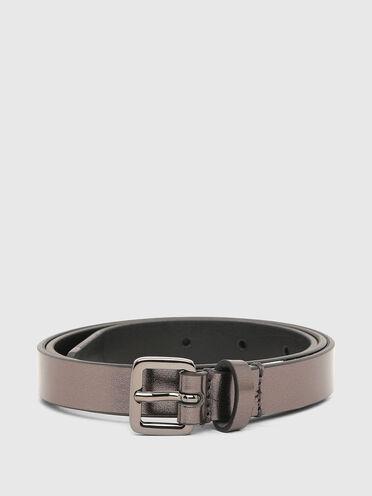 Cintura sottile in pelle metallizzata
