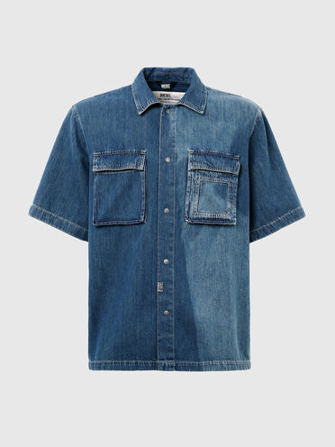 Camicia in denim con effetto sbiadito