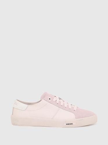 Sneaker in tinta unita in pelle e camoscio
