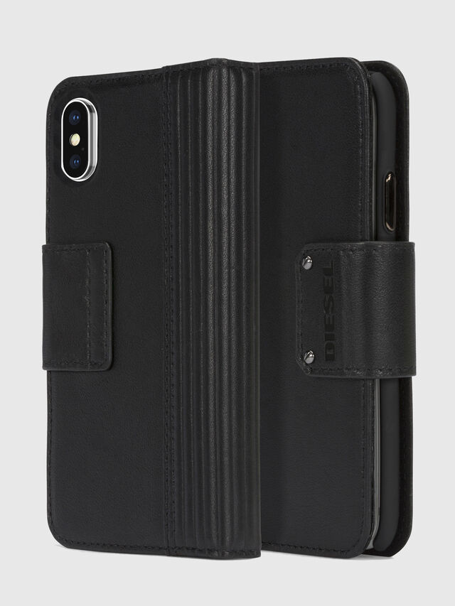 Diesel - BLACK LINED LEATHER IPHONE X FOLIO, Nero - Cover a libro - Image 1