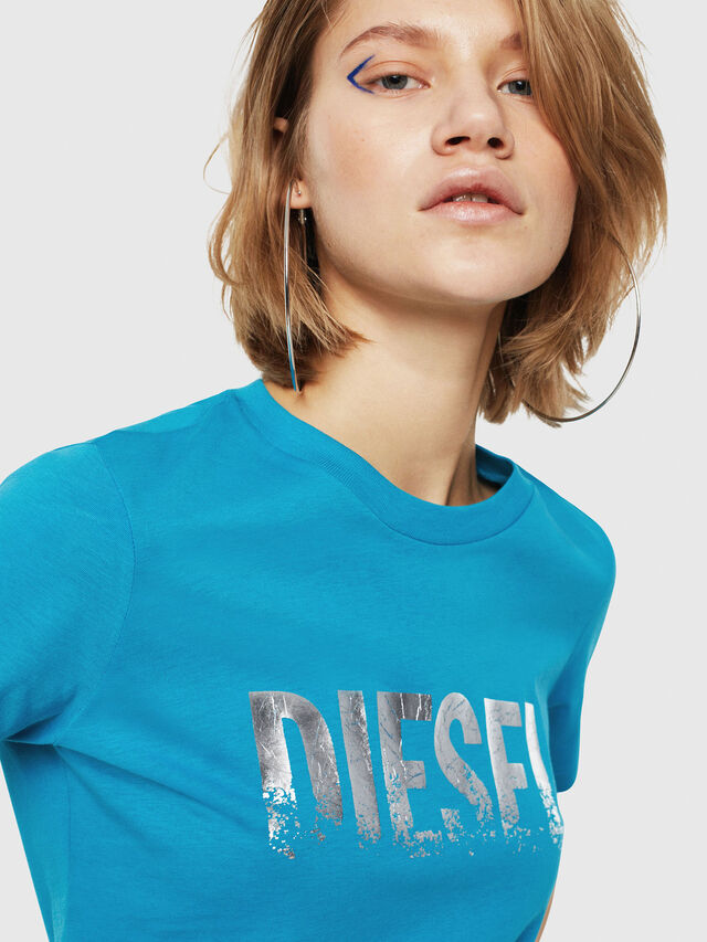 Diesel - T-SILY-WH, Turchese - T-Shirts - Image 4