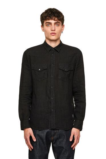 Camicia in lino stile western tinta in capo