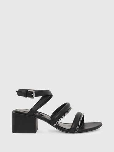 Sandali con tacco medio con dettagli con zip