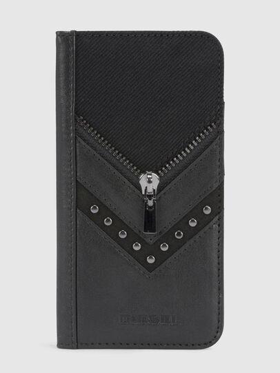 Diesel - BLACK DENIM/STUD/ZIPPER IPHONE 8/7 FOLIO, Nero - Cover a libro - Image 2