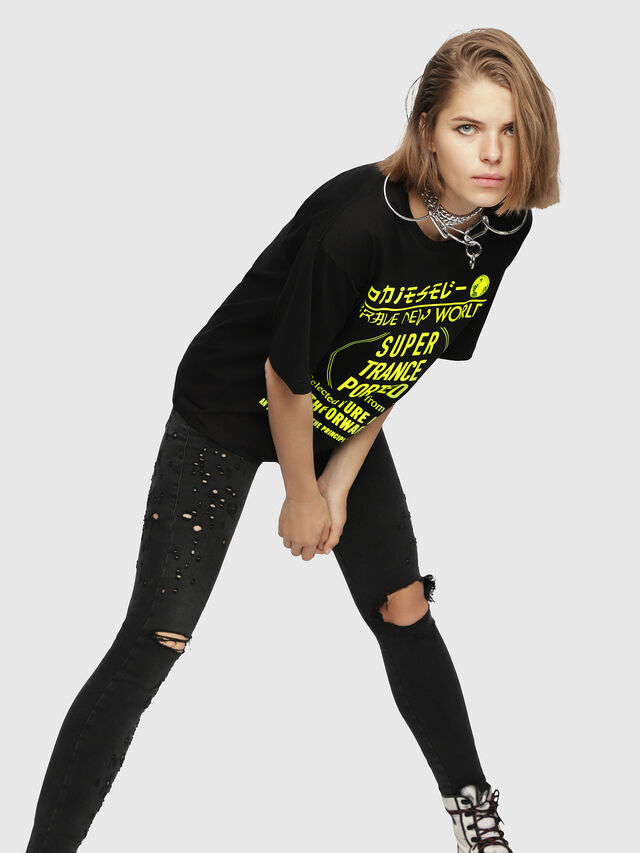 Diesel - T-JACKY-H, Nero/Giallo - T-Shirts - Image 3