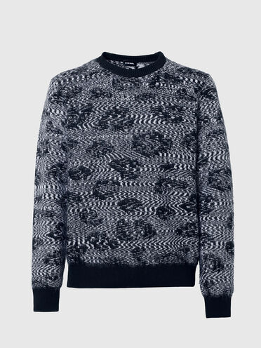 Pullover lavorato a maglia con motivo animalier in jacquard