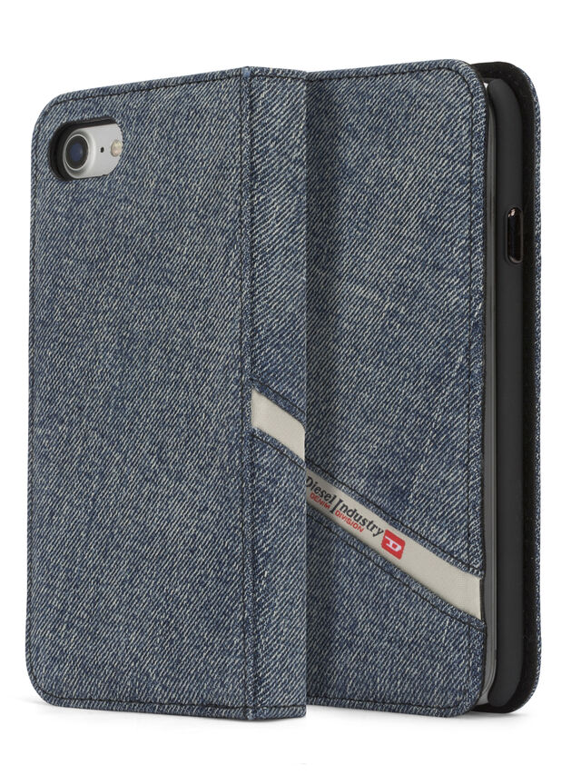 Diesel - DENIM IPHONE 8/7 FOLIO, Blu Jeans - Cover a libro - Image 1