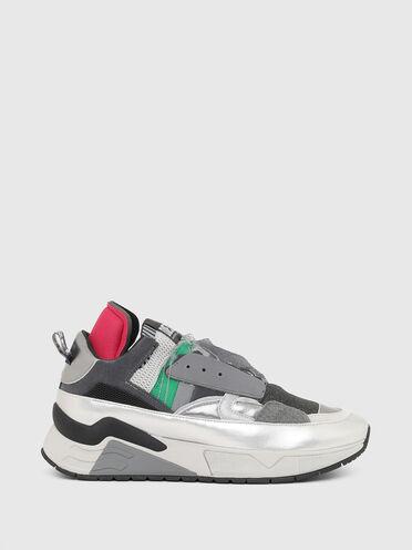 Sneaker senza lacci con finiture metallizzate