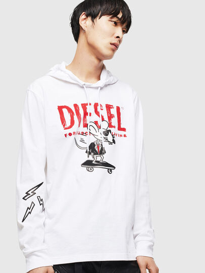 Diesel - CL-T-JUST-LS-HOOD, Bianco - T-Shirts - Image 1